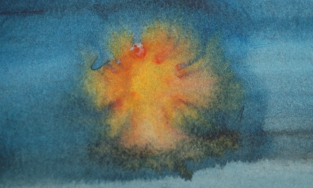 Dropping opaque watercolour into a wash