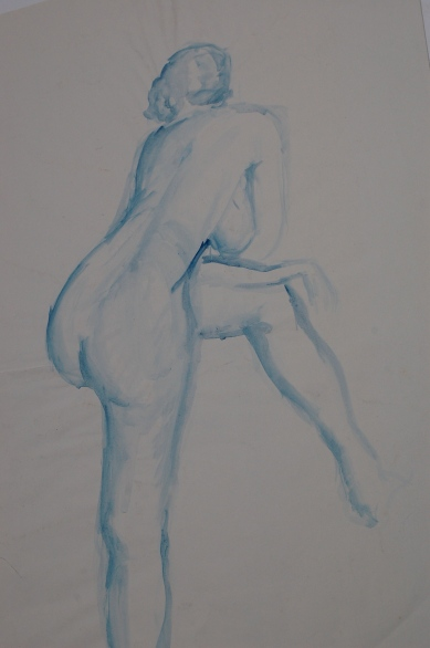 Life drawing study in watercolour
