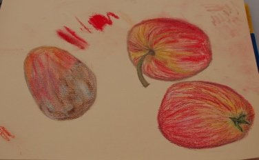 Work with pastel pencils