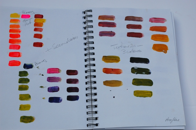 Mix and try colours on paper first.