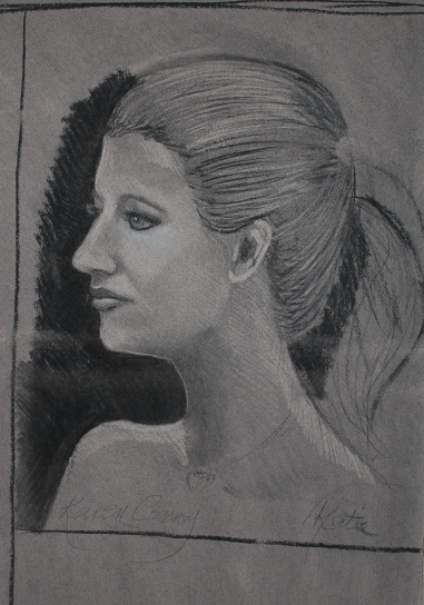 Charcoal and white chalk