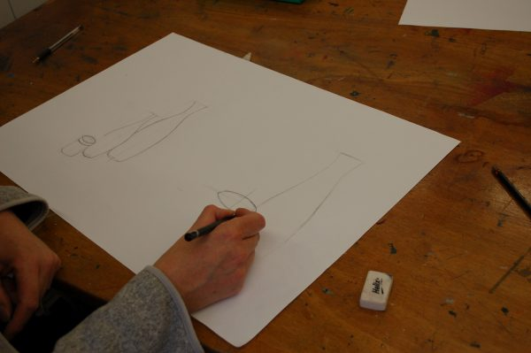 A comparable proportion drawing exercise where sizes and shapes are compared.