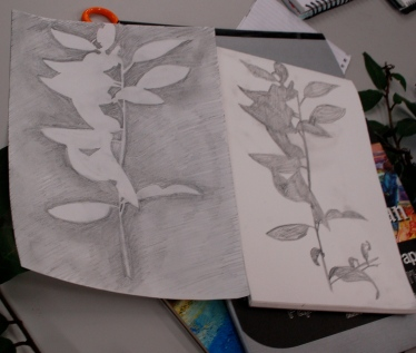 A drawing exercise looking at positive and negative space