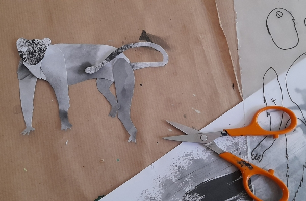 Collage - cutting out animal shapes